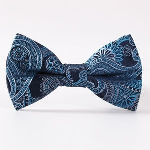 Other - Bow Tie Azure Blue Black Silver Paisley >HOST PICK